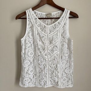 Lucky brand white lace sleeveless top, size S